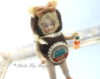 Root Beer Soda Pop Bear Needle Felted Doll Anthropomorphic Art Doll German Doll Parts Dollhouse Doll Lorelie Kay Original