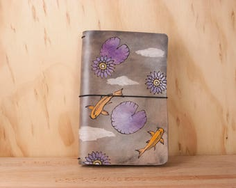 Leather Travelers Notebook - Moleskine or Midori Journal in the Koi Pond Pattern with Lotus - Leather Journal Cover
