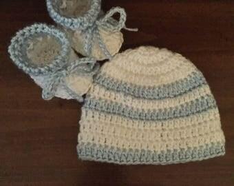 Baby Hat Crochet Boy hat and booties newborn blue white
