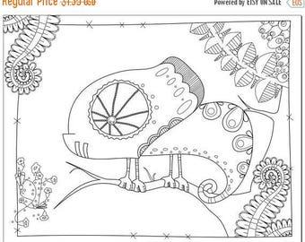 Summer Sale Voodoodles - Clever Chameleon coloring page