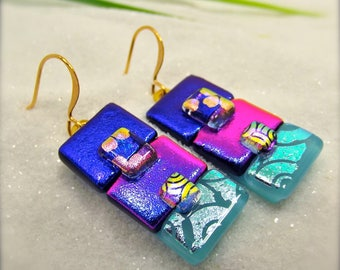 Trending dichroic jewelry, Fused dichroic glass, Dichroic statement earrings, Fused glass art, Hana Sakura Designs, Glass fusion, Dichroic