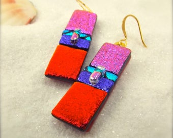 Red Dichroic Earrings, fused dichroic, dichroic glass jewelry, dichroic glass, earrings handmade, gold plated metal, fused glass art, fusion