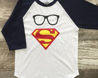 Custom Personalized Boys Unisex Superman Glasses Baseball T 3/4 Sleeve T Shirt Navy Blue White modern graphic trendy