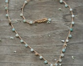 Hawaii Cone Shell Crocheted Amazonite Necklace