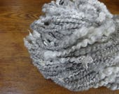 Handspun Art Yarn Bulky Coil Spun Art Yarn with Lace 56 yards gray cream ivory