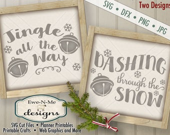 Christmas SVG Cut File - Jingle All The Way SVG Cut File - Dashing Through the Snow SVG Cut File - Jingle Bell - svg, dfx, png and jpg files