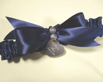 Personalized Navy Blue Satin Wedding Garter with Swarovski Crystals and Engraving