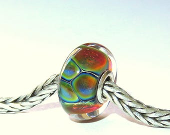 Luccicare Lampwork Bead - Opal III -  Lined with Sterling Silver