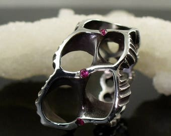 SALE Ruby Ring, Shell Ring, Sterling Ring, Silver Ring, OctopusME, Ring - Futuristic ring with Rubies, Mad Max, Octopus ME, Beach Jewelry, R