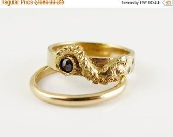 SALE Wedding Set, Stacking Rings, 14K Gold Tentacle Jewelry, Diamond, Black Diamond ring, Wedding Band, Engagement Set, Octopus
