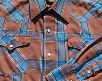 "70's Men's Western shirt,44""- tight 46"" Chest,Panhandle Slim,Proud to be an American,Made USA,Burnt brown,Turquoise Plaid,4 Pearl snap cuffs"