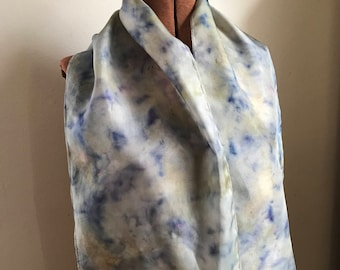 Elderberry and flowers dyed silk scarf, naturally dyed scarf