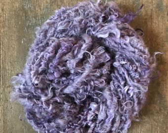 Logwood Purple naturally dyed  Lincoln wool locks yarn 50 yards bulky chunky curly handspun rustic art yarn
