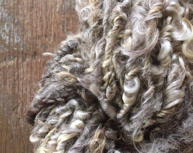 Grey curly yarn, 20 yards, undyed bulky art yarn, natural grey wool yarn, rustic wool yarn, textured yarn,