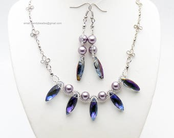 Light purple pearl necklace;Blue pearl;Beaded necklace; Swarovski necklace;Crystal necklace;Swarovski beads; glass beads