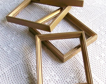 Vintage Small Gold Painted Frames 4 x 5 For Paintings Stitchery Art and Crafting 4 Pcs