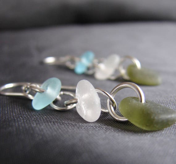 Crest sea glass earrings in aqua, white and olive