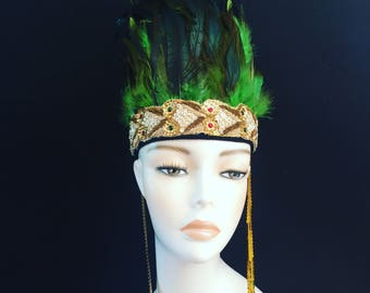Green Gold  Feather Head Dress Feather Crown Head Piece Festival headpiece