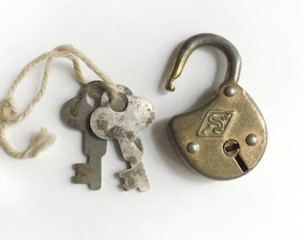 Vintage Slaymaker Small Padlock Lock With Two Keys Opens Patina Made in USA Rustic Working Old