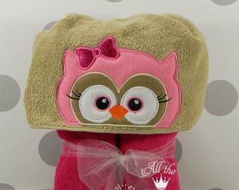Teen or Adult Hooded Towel - Girl Owl Hooded Towel - Girl Owl Towel for Bath, Beach, or Swimming Pool