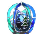 Blue Ridge Breeze - Stained Glass 3D Sphere - Mini Blue Green Mountain Home Decor Suncatcher Hanging 3Dimensional Nature (READY TO SHIP)