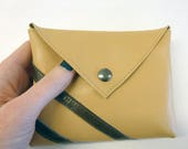 """Beige and brown leather pouch, Leather purse with stripes, 6x5"""" - 15x12"""
