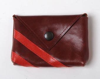 """Small marroon leather coin purse, Crimson and red leather coin pouch, Marroon leather purse, MALAM, 10. x 7 cm (4x2.7"""")"""