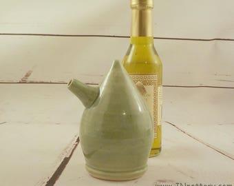 Stoneware Cruet - Oil Server - Ceramic Vinegar Pourer - Handmade Soy Bottle - Store and Serve - Pale Celadon Green - Ready to Ship  s509
