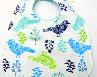 Baby Girl Bib, Baby Shower Gift, Welcome Baby Gift. New Mom Gift: Blue, Teal, Navy Blue, Green Birds on White