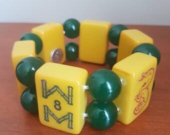 Mahjong bracelet / authentic bakelite tiles / large green acrylic beads / free gift bag / lucky dragon and lucky eights