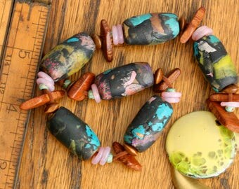 Artisan Polymer Clay Art Beads. Clay beads. Wood beads. Handmade Bead Set of 6 with Enameled pendant and Vintage Pendant. Jewelry supply.