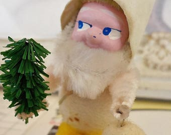 Vintage / Christmas Ornament / Gnome / Elf / Made in Japan / Lantern / Flocked Paper Hat / Spun Cotton / Bump Chenille