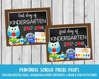 PRINTABLE First Day of Preschool and Last Day of Preschool Sign / Blue Owl Sign for Back to School Pre-K / INSTANT DOWNLOAD