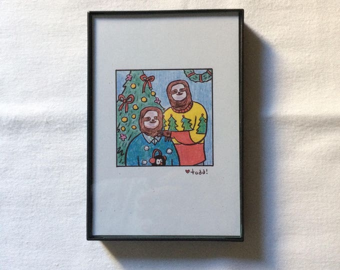 Sweater Sloth Family Portrait, Print, 4 x 6 inches, Crayon Drawing, Gift, Wall Decor, Illustration, Animal, Silly, Christmas, Holiday,