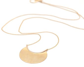Delicate Gold Disc Necklace, Long Chain Necklace, Circle Pendant, Dainty Gold Necklace, Capsule Wardrobe, Gift for Her - Nova Necklace