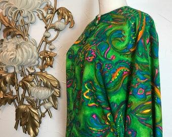 1960s blouse kaftan top dolman sleeve blouse size medium kimono blouse vintage blouse psychedelic blouse 36 bust