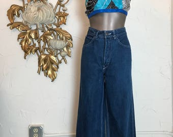 1970s jeans high waist jeans flared jeans dark denim jeans size small wide leg jeans 26 waist 29 inseam mom jeans vintage 45 indigo jeans