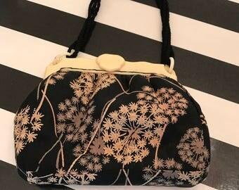 1940s purse fabric purse celluloid purse cocktail purse evening bag black floral purse