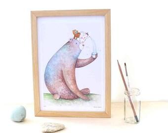 tea time, bear art, nursery wall, gender neutral baby, new baby gift, graduation gift, children gift, whimsical owl, A4 limited, beilexian