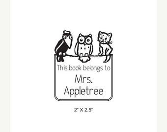 Xmas in July Crow Owl and Kitten Personalized Ex Libris Bookplate Rubber Stamp K27