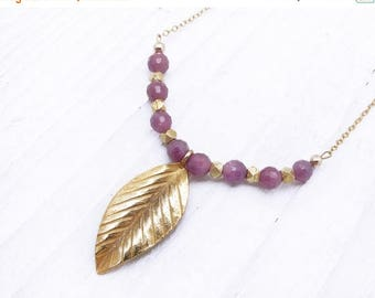 ruby necklace, gemstone necklace, Valentine gift for her, gold necklace, leaf pendant necklace, Hill Tribe, gold chain, luxury necklace