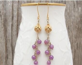 ruby earrings, Ruby gift, July birthstone earrings, Valentine earrings, ruby jewelry, ruby, cascade earrings, ruby and gold earrings