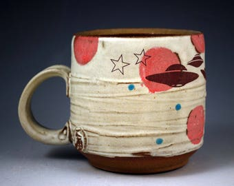UFO Mug on White with Red Spots