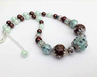 Chocolate and Mint Necklace, Chunky Necklace, Brown Beaded Necklace, Gift For Her, Single Strand Necklace, Statement Necklace, Mint Jewelry