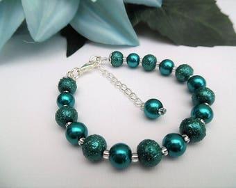 Teal Bracelet, Pearl Bridesmaid Jewelry, Contemporary Jewelry, Simple Wedding Bracelet, Beaded Bracelet, Single Strand, Jewelry Gift for Her