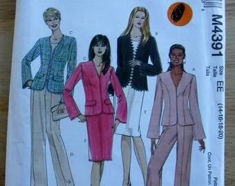 Suit sewing pattern, pants jacket skirt pattern, misses McCalls sewing pattern EE 14 16 18 20 Uncut/woman career separates sewing pattern
