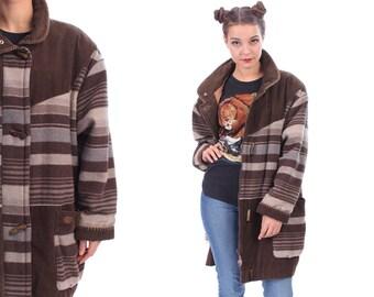 AZTEC Blanket Coat Unisex 80s Vintage Oversize Tribal Jacket Woven Wool Cotton Corduroy Native American Brown Grey Southwest Outerwear . XXL