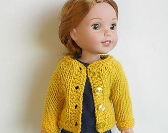 "Knit Sweater for 14.5"" Dolls Handmade to fit the Wellie Wishers and other similar dolls ~ Long Sleeves Four Buttons You Choose Color"