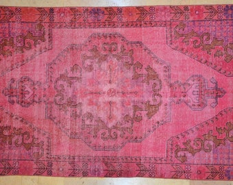 Carpet Bright Pink 4' x 7' Rug Overdyed Vintage