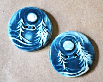 2 Handmade Ceramic Forest Buttons in Denim - Extra Large Focal Buttons for Unique and Special Knit or Crochet Winter Gifts